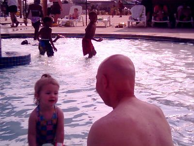 Katherine w/ Papa at Ft. Jackson water park