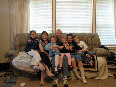 """""""Uncle"""" David with the kids...Heather, Frances, Leah, Katherine, Jon, and Justin"""