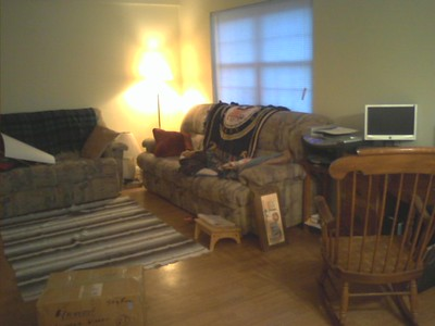 half of the living room
