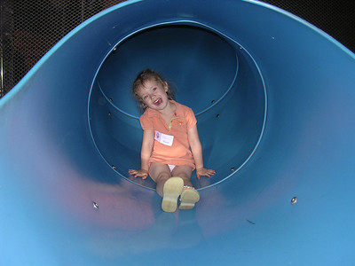 Katherine on the slide at Focus on the Family