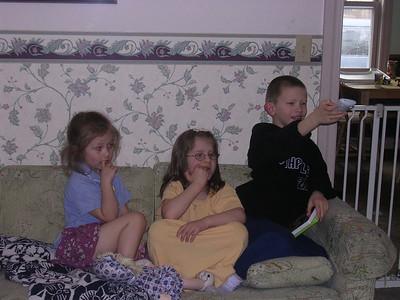 Leah, Elizabeth, and Azariah watching Veggie Tales