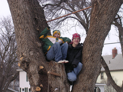 Jon and Nathaniel in the tree
