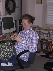 Karla making hair scrunchies