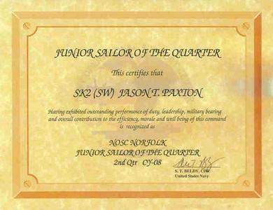 Jason's Sailor of the Quarter certificate