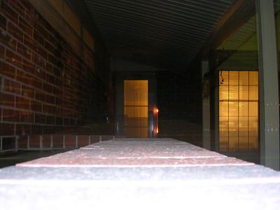 my front door, at night