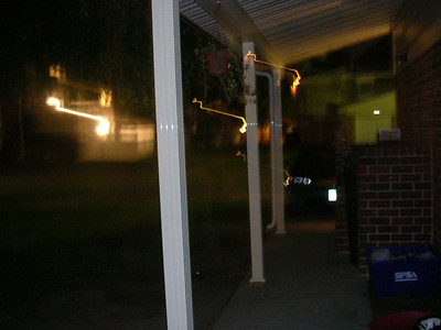 the view from my front door at night
