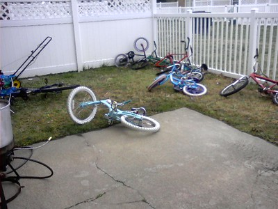 Bike Corral in our back yard