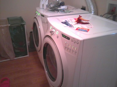 My brand-new washer and dryer in the laundry room