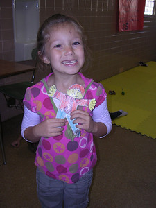 Leah with Flat Stanley at church