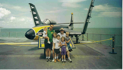 Visit to USS Lexington, with David, July, 2003