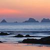 Presqu'île de Crozon, coucher de soleil sur la plage du Goulien.