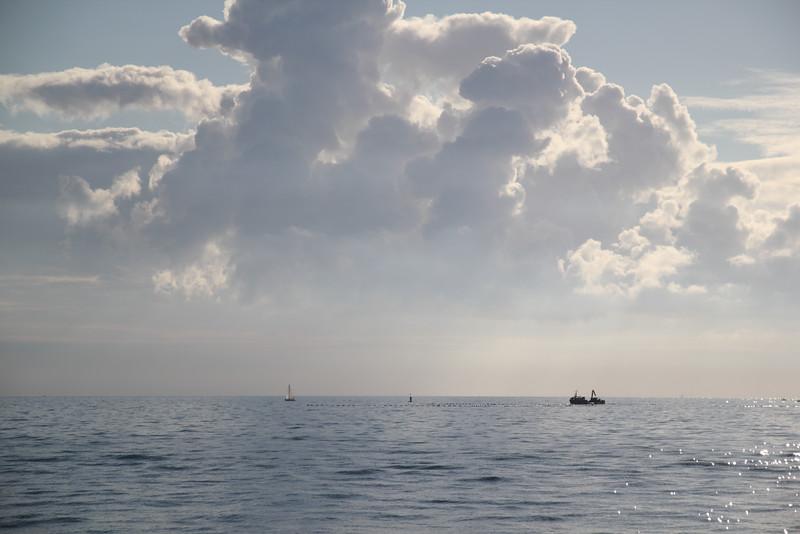 Parc à huitres en pleine mer