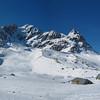 Grand Galibier à Valloire : chalets d'alpage des Mottets au pied du couloir de la Clapière.