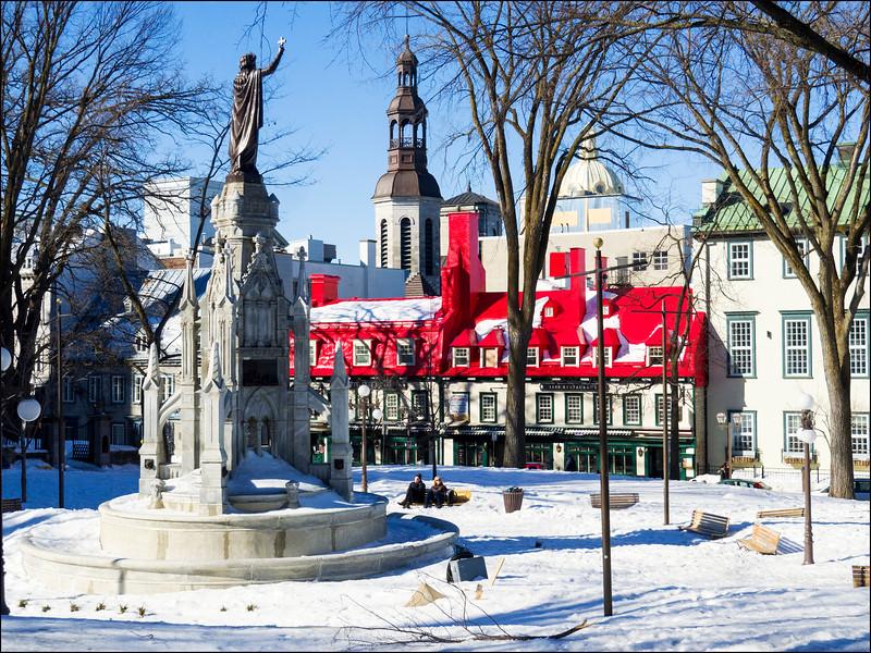 Place d'Armes, Québec, le 11 mars 2016.