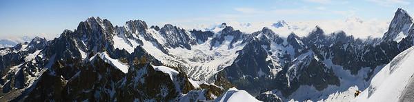 Panorama sur la Chaîne du Mont Blanc depuis la Grande Jorrasse (à droite) - 2015