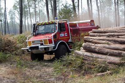 FEUX de Forêt entre Sanguinet et Parentis - Landes (France) EN Septembre 2010