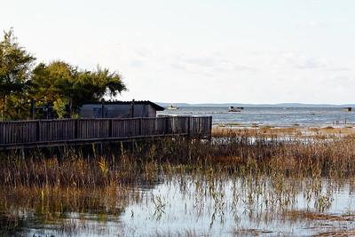 Derrière La Hume. Au loin, les cabanes d'affût pour chasser le gibier d'eau.