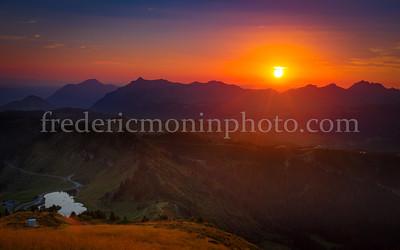 Sunset on the Joux Plane Lake