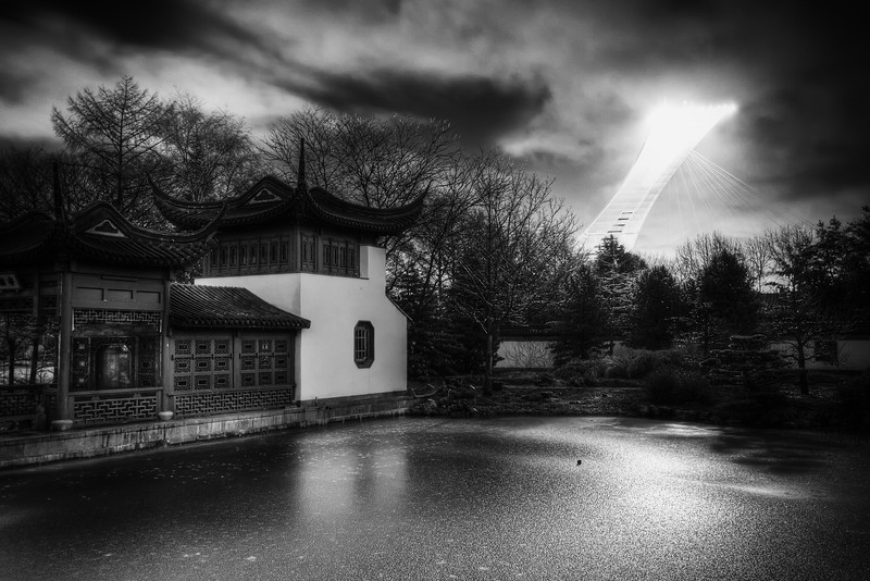 Sunrise in chinese garden in Montreal