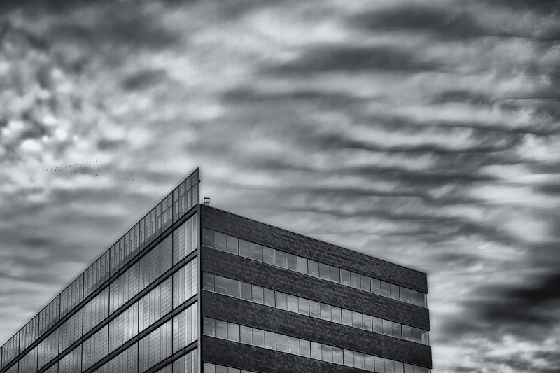 Building with clouds in Montreal