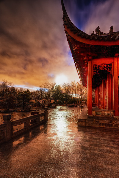 Sunrise with chinese pavillion