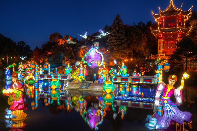 Lanterns in chinese garden in Montreal