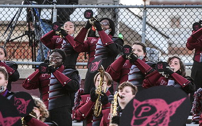 Members of the Phillipsburg Marching Band perform for the first time in their new uniforms as Phillipsburg football hosts Hillsborough on Oct. 17, 2020
