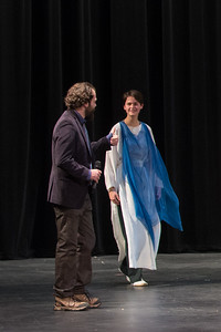 rachel on stage with her teacher after the class  eurythmy performance