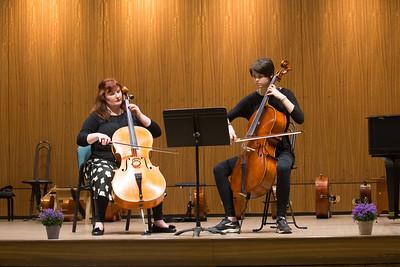 spring cello recital - duet with her teacher.