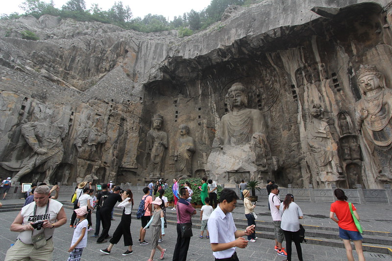 The Vairocana Buddha in Fengxian cave (Ancestor Worshipping Cave). This grotto is the largest of all caves carved on the west hill at Longmen, built between 672 and 676 for Empress Wu Zetian. June 24, 2017