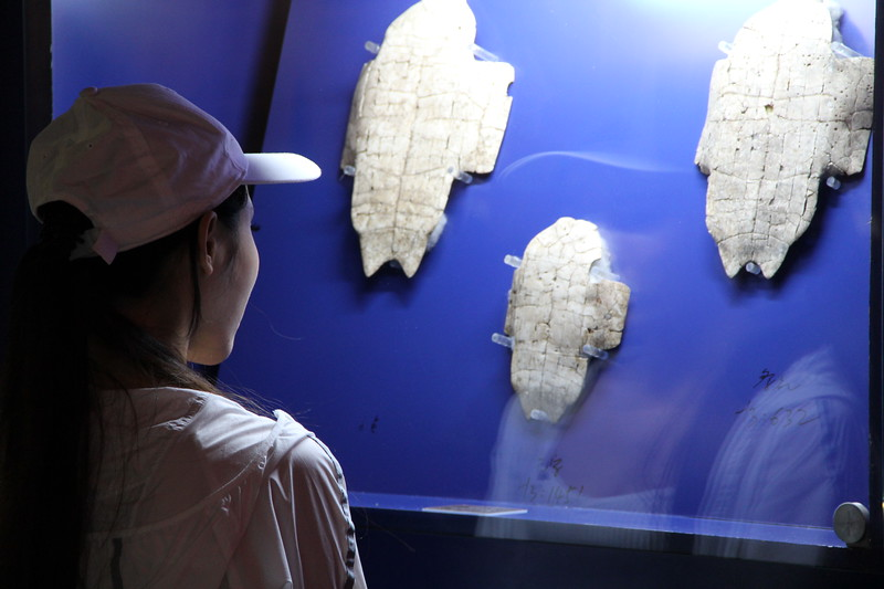 The Yin ruins museum in Anyang boast some of the earliest records of Chinese writing, preserved on these carved tortoise plastrons and dating to the Shang Dynasty (1300-1046 BCE). Leaders inscribed their questions on the bones and then broke them to learn the answers, thus divining the future. June 20, 2017