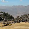 The massive Inca fortress of Sacsayhuaman perches atop a hill overlooking the city of Cusco, Peru.