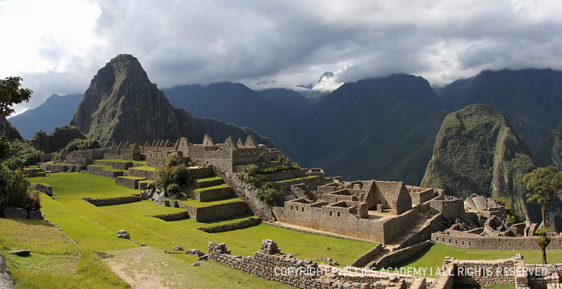 Panoramic view of the ancient Inca ruins of Machu Picchu, Peru.