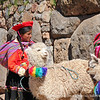 A young woman and an alpaca at Sacsayhuaman, Peru.