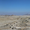 Panoramic scene of the desert landscape near Chanquillo, Peru.
