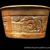Maya vessel; ceramic; Belize; c. AD 800<br /> This ceramic bowl depicts a feathered serpent, known as Kukulkan in the Maya region and Quetzalcoatl to the Aztec. The motif on the vessel was created using a wooden or ceramic stamp that was pressed into the moist clay before firing.