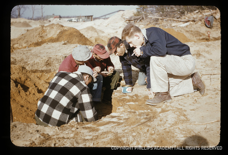 Peabody Museum excavations at the Bull Brook site, Ipswich, Massachusetts, April 1955.