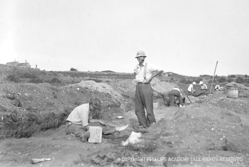Peabody Curator Fred Johnson supervises excavation of the Hornblower shell heap, Martha's Vineyard, 1936.