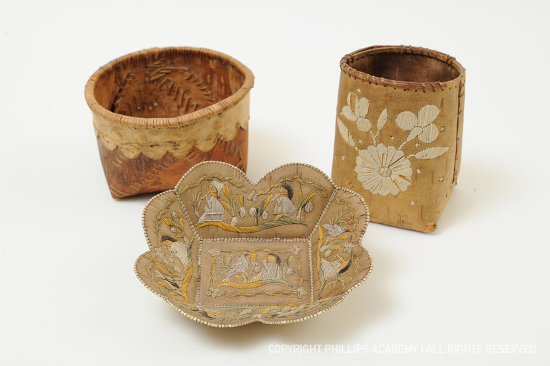 Birch bark baskets, North America. Photograph by Gil Talbot.