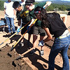 Students making adobe bricks at Pecos National Historical Park.