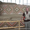 Peabody Museum Educator and HUACA co-director Don Slater with the well-preserved murals at Huaca de la Luna, Peru.