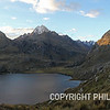 An alpine lake nestled in the Andes at an altitude of 13,346' above sea level.