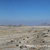 Panoramic scene of the desert landscape near Chanquillo, Peru.