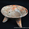 """Polychrome tripod bowl; ceramic; El Riego Cave, Tehuacan Valley, Puebla, Mexico; Venta Salada phase, c. AD 700/800–1520<br /> Excavated by Richard """"Scotty"""" MacNeish during his investigations of the Tehuacan Valley, this polychrome tripod bowl—a trade piece— is indicative of a time when there was a significant population in the valley that engaged in agriculture and used canals for irrigation."""