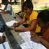 Students learn how to identify ceramic sherds from the collections at Pecos National Historical Park.