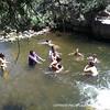 Students swimming in a river near Jemez Pueblo