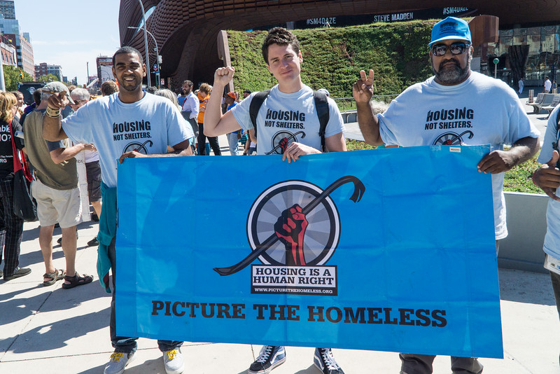 Picture The Homeless was one of many Brooklyn organizations at today's protest.