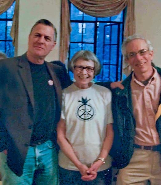 Left to right: Matt Weinstein, Vicki McFadyen and Ed Goldman at the Peace Action Bay Ridge annual fundraiser.