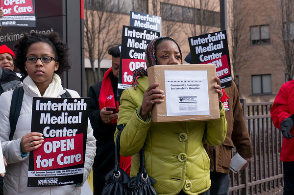 This woman had the box of close to 600 letters that were sent to the NY State Health Commissioner. People want transparency and answers from New York State concerning the future of Interfaith Hospital.