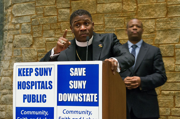 """Pastor Eric Garnes, of the Tabernacle of Praise Cathedral in Brooklyn: """"Keep the cameras rolling. I want the Governor to hear these words."""""""